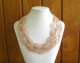 Chunky blush pink necklace, pink beige necklace with matching earrings