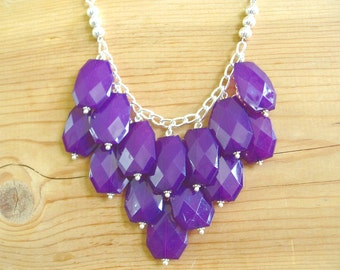 Purple Bib statement necklace, eggplant purple bib necklace