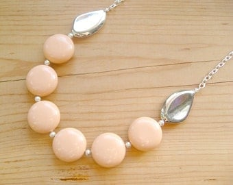 Peach and Silver statement necklace, Coral Long Chunky statement necklace