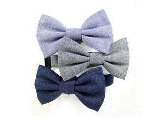 Denim Dog Bow Tie Collar Blue or Grey Chambray Dog Bowtie Wedding Collar