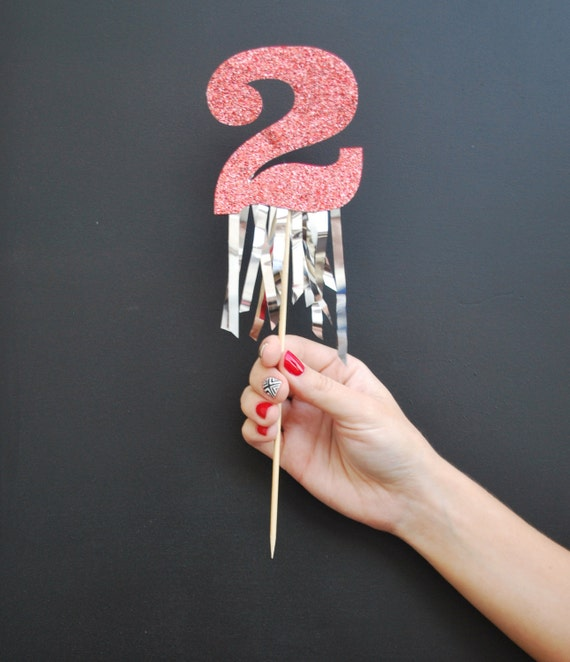 Items Similar To Glitter Number Birthday Cake Topper With Fringe