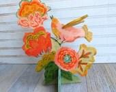 Apricot Sparrow wood sculpture by Kimberly Hodges, freestanding wood sculpture, folk art bird, folk art sculpture, spring flowers