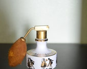 Vintage Victorian scene atomizer perfum bottle glass white porcelain gold pump spray Bavaria Western West Germany