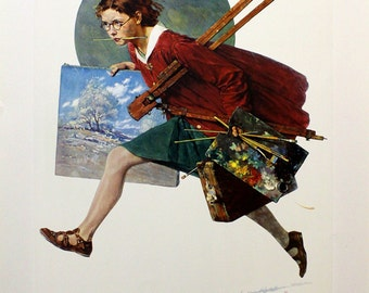 """Norman Rockwell """"Wet Paint"""" - Limited Collotype - Retail 350.00 - Buy/Sell/Trade"""