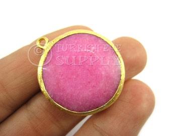 26mm Candy Floss Pink Bezel Pendant, Round Faceted Jade Pendant, Gemstone Pendant, Gold Plated Bezel, Turkish Pendant, Turkish Jewelry