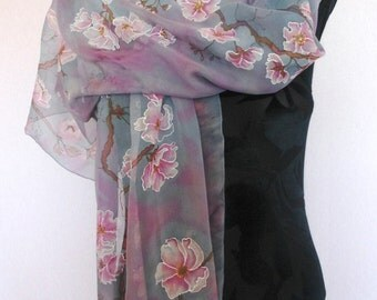Hand painted silk scarf with sakura. Pink and grey scarf. Sakura scarf. Designer scarf. Made to order.