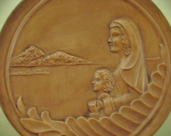 """Vintage 1978 Frankoma Decorative Collectible Plate """"Madonna Of Love"""" Grace Lee Frank, Wall Hanging, Home Decor, Religious, Gift"""