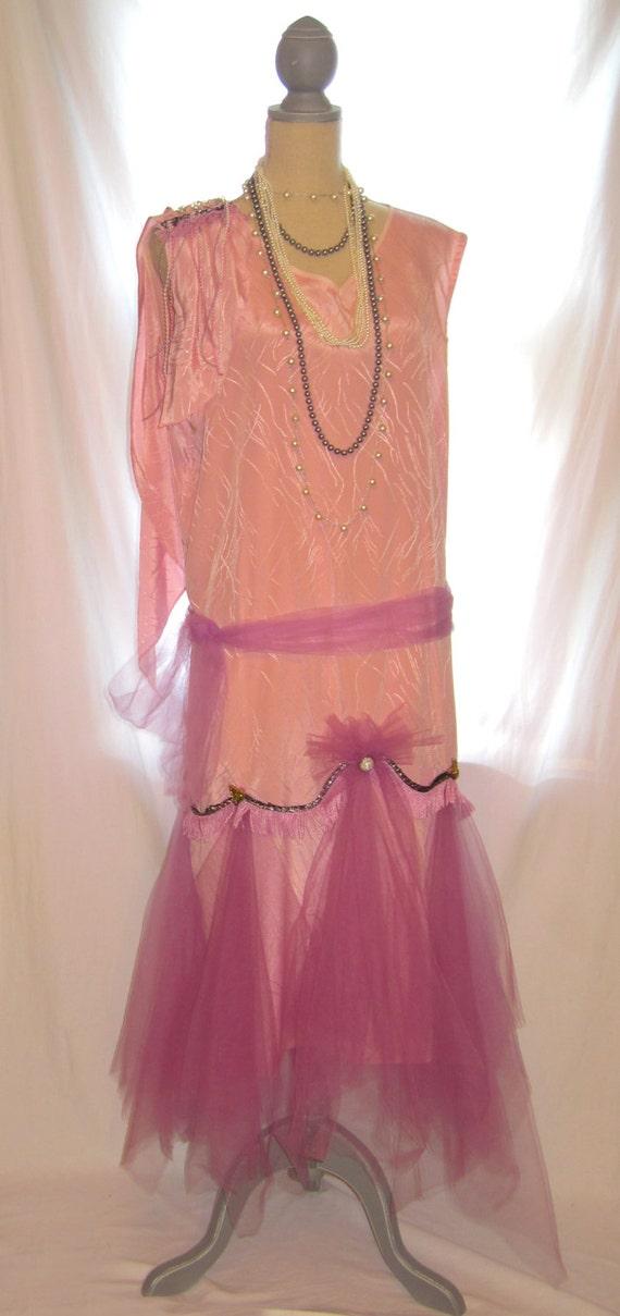 Great Gatsby, Flapper dress, Size 14-16 Dusty Pink Lavender V Neck ...