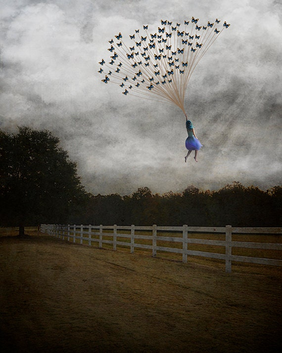 Carried Away - Matted Print, Home Decor, Surreal, Whimsical, Fine Art Photography