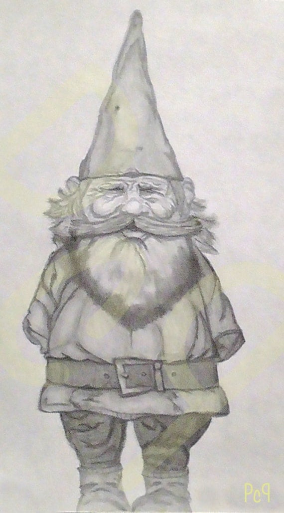 Lawn Gnome Drawing Male Forest Garden Gnome Black