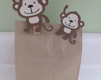 Monkey Favor Clips for Bag, Basket or Box - Birthday