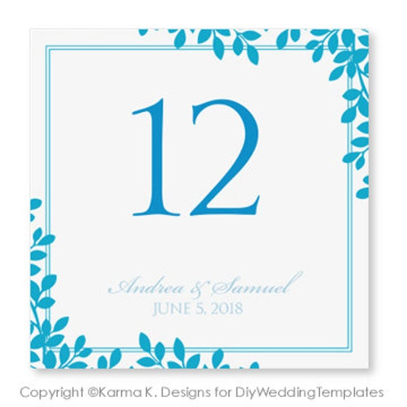 wedding table number card template instant by karmakweddings. Black Bedroom Furniture Sets. Home Design Ideas
