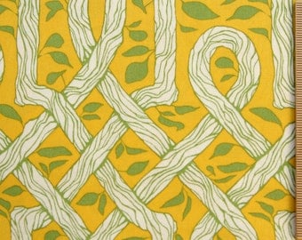 Joel Dewberry Deer Valley Vinework fabric JD29 Goldenrod Yellow green white stripe floral 100% Cotton fabric by the yard Sewing Quilting