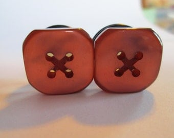 Clearance Sale - Vintage Copper Square Button Plugs - Available in 1/2 in, 9/16 in, and 5/8 in.