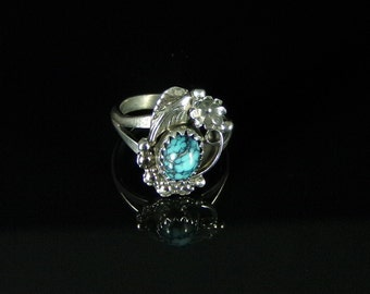 Natural Chinese Spider Web Turquoise Ring Sterling Silver Handmade Size 4.5, R059