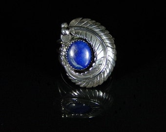 Women's Lapis Ring; Sterling Silver, Handmade, Size 9.5, #R0246