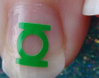 GREEN LANTERN Nail Art Decals Set of 20 Vinyl Stickers Applique Manicure Pedicure Party Event Accessories