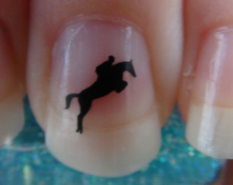 HORSE and RIDER JUMPING Nail Art Decals Logo Set of 20 Vinyl Pony Stickers Applique Manicure Pedicure Party Gifts Stocking Stuffers