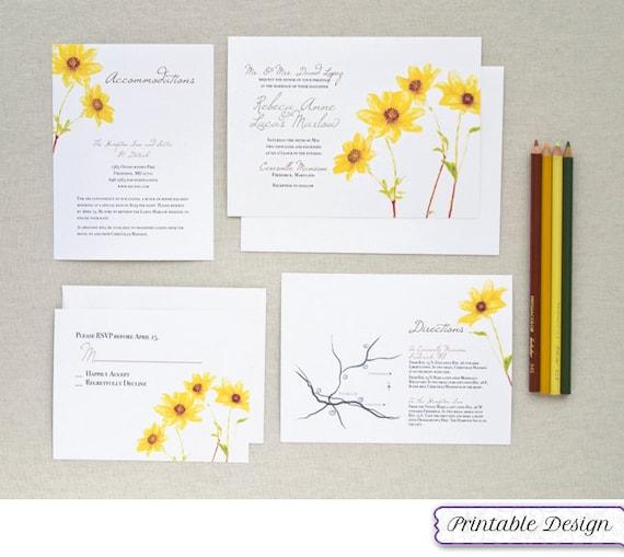 Printable Wedding Invitation Set Watercolor By PaperbyCharmCat