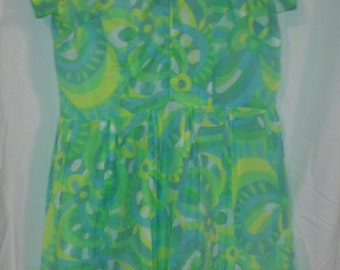 st. patricks day, st pattys day dress, neon homemade vintage psychedelic mod dress, womans large/L