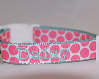Embroidered Preppy Polka Dot Dog Collar - You pick the color