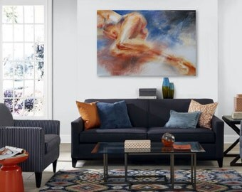 EXTRA LARGE ART: earthy red, gold, blue, rust, orange, black canvas giclee print figurative painting nude female body by Hawaii artist Donia