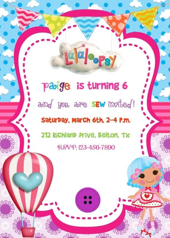 Lalaloopsy party Invitation Birthday Party Baby Shower Digital – Lalaloopsy Birthday Invitation