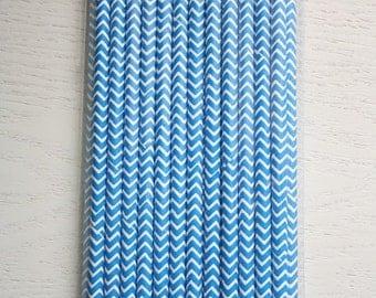 25 Paper Straws - Blue Chevron