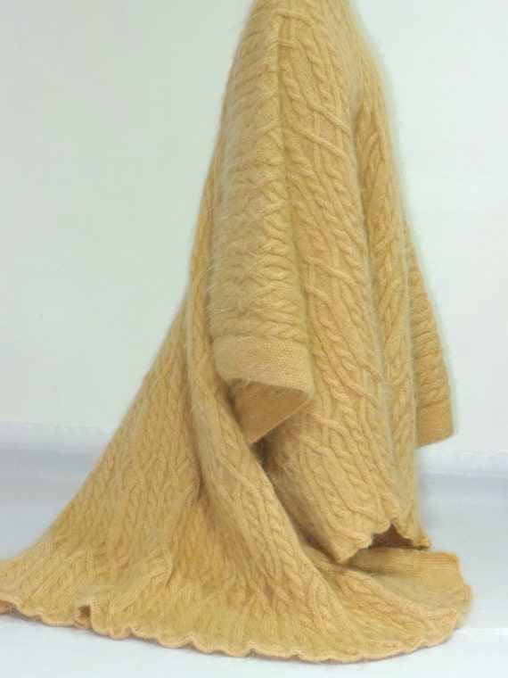 Knitting Pattern For Mohair Blanket : Thick Hand Knit Sweater Mohair BLANKET Fuzzy by EXTRAVAGANTZA