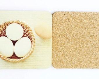 A Baket of Eggs Photography Coasters, Wood Cork Set of Four Coasters, Square Coasters, Food Photography, Eggs