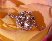 Morganite Engagement Ring, Rose Gold Engagement Ring, Rose Gold Milgrain Bezel Diamond Engagement Ring