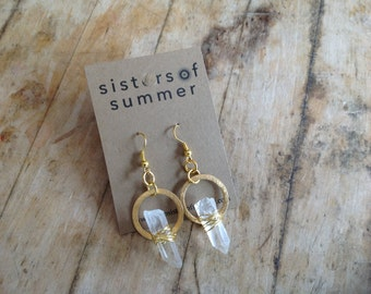 Wire-wrapped Quartz Crystal Point Circlet Earrings