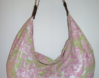 Pink and Green French Toile print Slouchy Hobo Bag Purse