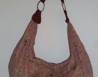 Mauve Floral Print Corduroy Slouchy Hobo Bag Purse