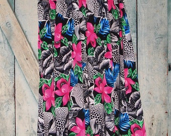 80's Tropical Floral Print Pleated Maxi Skirt