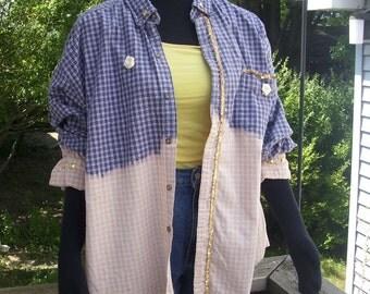 Upcycled Flannel Shirt, Studded Flannel, Oversized Shirt, Grunge Clothing, Boyfriend Shirt, Embellished Shirt, Ombre Shirt - Mens Size XL