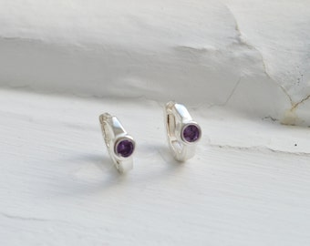 Purple Amethyst Huggie Earrings - Amethyst Hoop Earrings - Amethyst Earrings - Silver Earrings - February Birthstone - Bridesmaids Gift