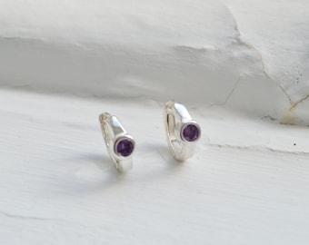 Purple Amethyst Huggie Earrings - Amethyst Hoop Earrings - Amethyst Earrings - Silver Earrings - February Birthstone - Bridesmaids Gift