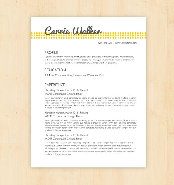 resume template cv template the carrie walker by phdpress