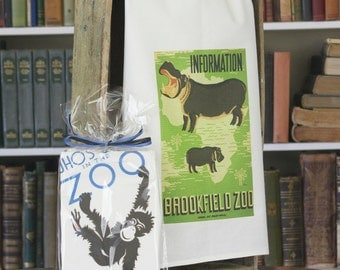 """Traditional Flour Sack Dishtowel with your choice of WPA Animal Artwork (30""""x30"""", 100% cotton, individually wrapped)"""