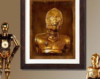 """Fine Art Print: - """"Vintage Star Wars C-3PO portrait""""  - 8"""" x 10"""" Giclee print, Star Wars Fan art, Nerd gift, Geek gift"""