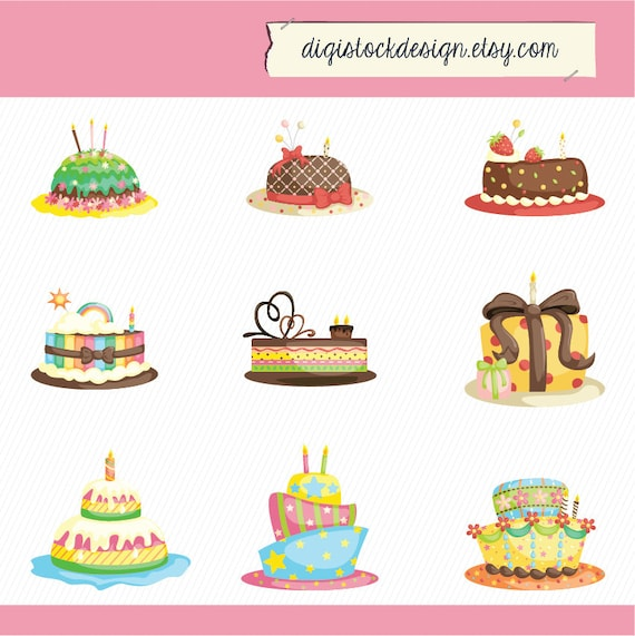 Birthday Cake Clipart. Cake Illustration. Birthday Cake