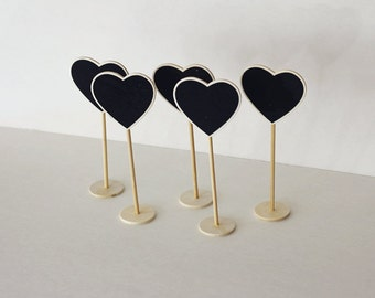 SALE - Set of 5 - Mini Chalkboard Stands - Heart shape - Table Numbers - Reception - Wedding Signage -  Buffet Props -  Party Supply