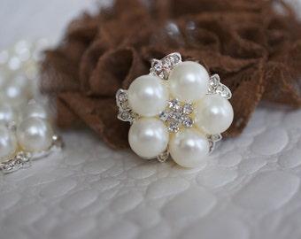 2 - 5 or 10 -  Crystal Rhinestone & Pearls 25mm metal buttons FLAT BACK - Rhinestone Embellishments