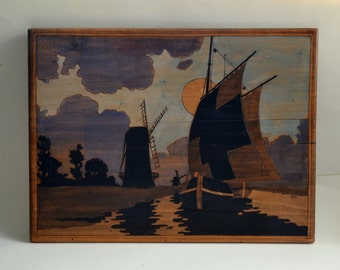 painting on wood / Navy / mills /  sunset / boat / french vintage 1930s