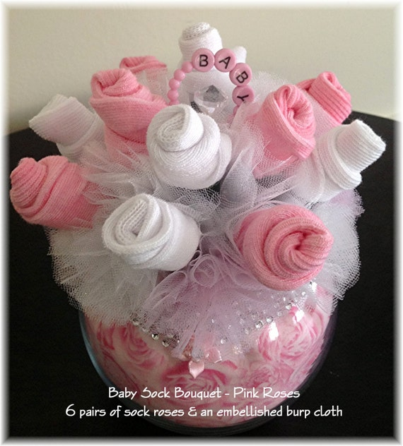 Baby sock bouquet pink roses girl shower table