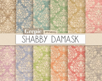 "Damask digital paper: ""SHABBY DAMASK"" shabby digital paper pack with dirty / old / vintage / shabby classical damask pattern backgrounds"