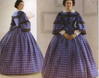 Simplicity 3727 Civil War Day Dress, Pagoda Sleeves, White Collar and Undersleeves, Size 8, 10, 12, 14