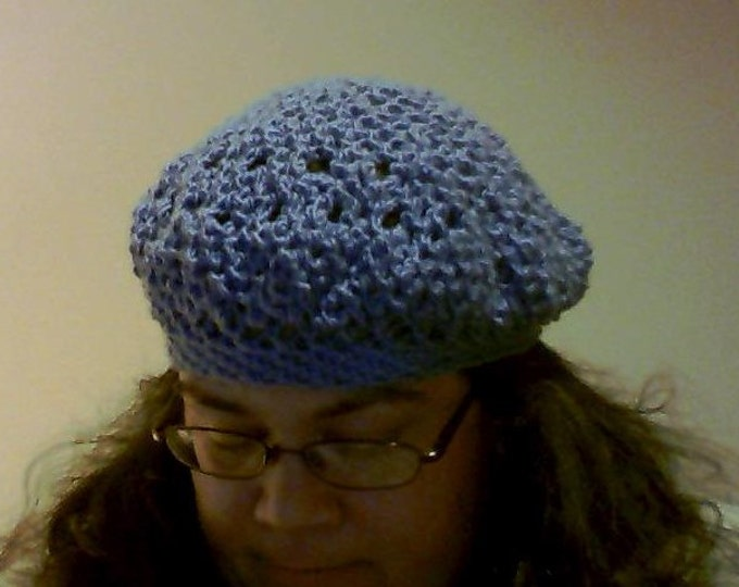 CLEARANCE! blue crochet beret