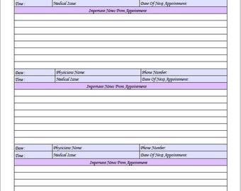 Medical Appointment Log / Printable / Instant Download PDF